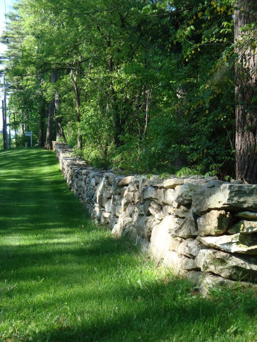 This boundary wall is a wonderfully rural transition between the wild of the wood and the civility of the lawn.