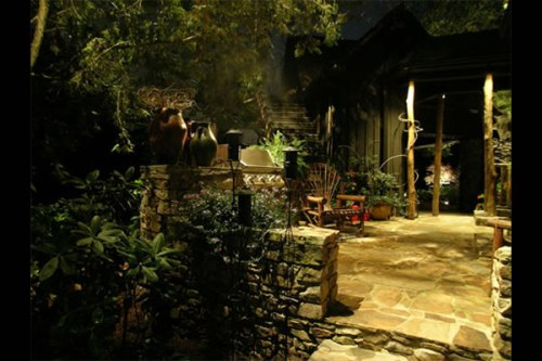 A wonderful ambiance is created with landscape lighting from Unique Lighting Sytems